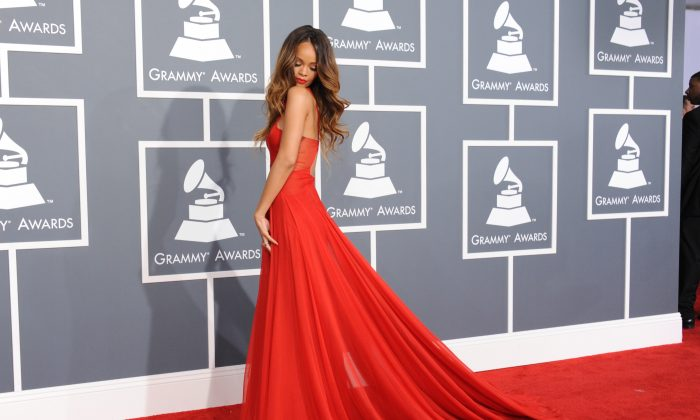 This Feb. 10, 2013, photo shows Rihanna at the 55th annual Grammy Awards in Los Angeles. Rihanna is being honored with the fashion icon award by the Council of Fashion Designers of America on Monday, June 2, 2014. (Jordan Strauss/Invision/AP)