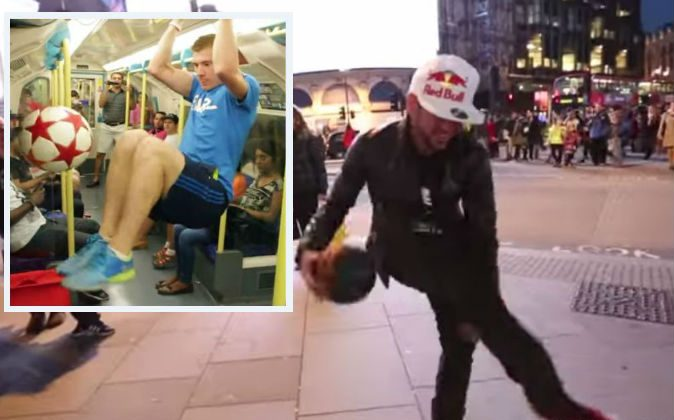 Left: Andrew Henderson shows his freestyle soccer skills on the London Tube. Right: Sean Garnier performs freestyle soccer tricks. (Screenshots/STRSkillSchool/YouTube)