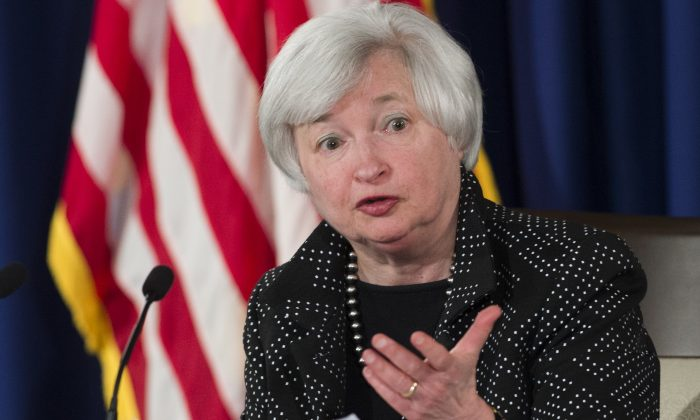 Federal Reserve Chair Janet Yellen speaks at a press conference following the Federal Open Market Committee meeting in Washington, Wednesday. (SAUL LOEB/AFP/Getty Images)