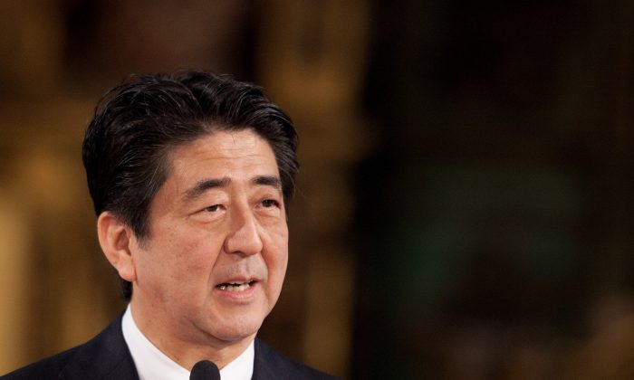 Japanese Prime Minister Shinzo Abe speaks during a meeting with the press at Hostal Los Reyes Catolicos after their visit to Santiago de Compostela cathedral on May 4, 2014 in Santiago de Compostela, Spain. (Pablo Blazquez Dominguez/Getty Images)