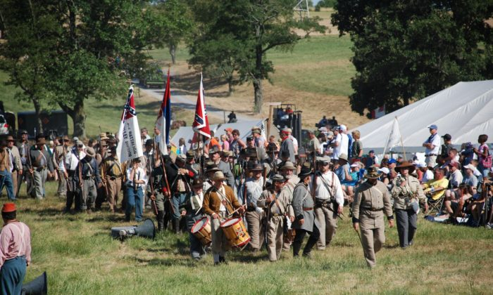 Gettysburg was the site of a momentous battle that turned the tide of the Civil War on July 1-3, 1863. The battle is memorialized by reenactments every year. (Myriam Moran copyright 2014)