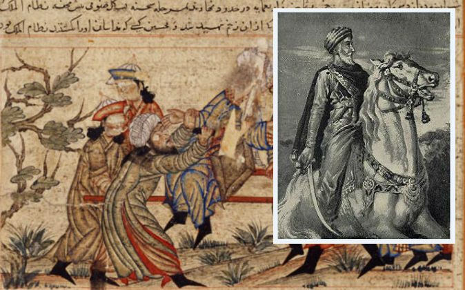 Left: The assassination of Nizamal-Mulk by a hashshashin. Hassan-i Sabbah, who formed the hashshashins. (Wikimedia Commons)