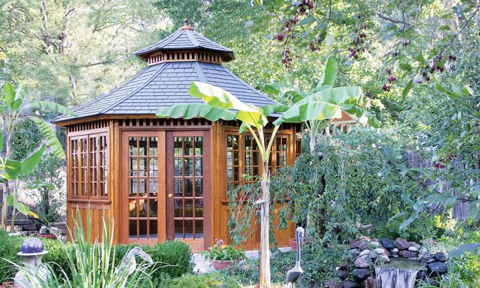 A gazebo is a great way to add a new element to your backyard. It provides protection from the sun as well as the rain. (Summerwood Products, www.summerwood.com)