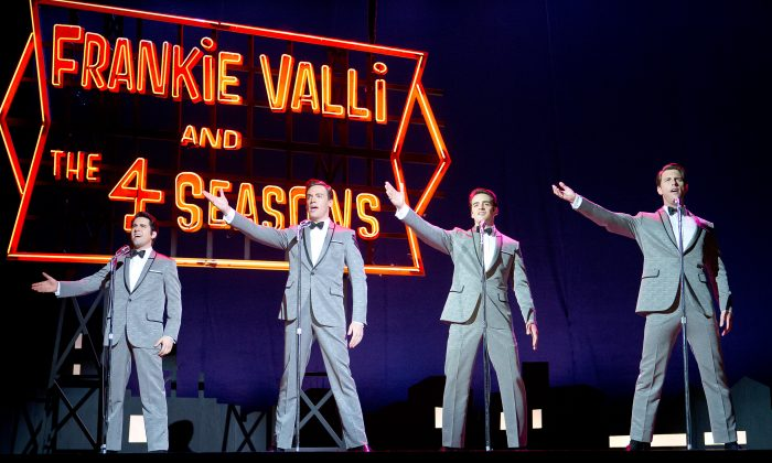 "John Lloyd Young as Frankie Valli, Erich Bergen as Bob Gaudio, Vincent Piazza as Tommy DeVito, and  Michael Lomenda as Nick Massi in the movie-musical ""Jersey Boys."" (Warner Bros.)"