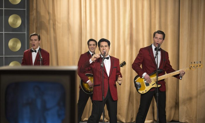 """(L–R) Erich Bergen as Bob Gaudio, Vincent Piazza as Tommy DeVito, John Lloyd Young as Frankie Valli, and Michael Lomenda as Nick Massi in """"Jersey Boys."""" (Warner Bros.)"""