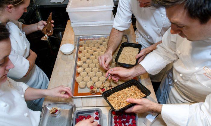 Chefs prepare PB&J with Caramel Custard, Virginia Peanut Crumble and Raspberry Soda at JBF's Taste America kick-off on June 17. (Courtesy of Ken Goodman)
