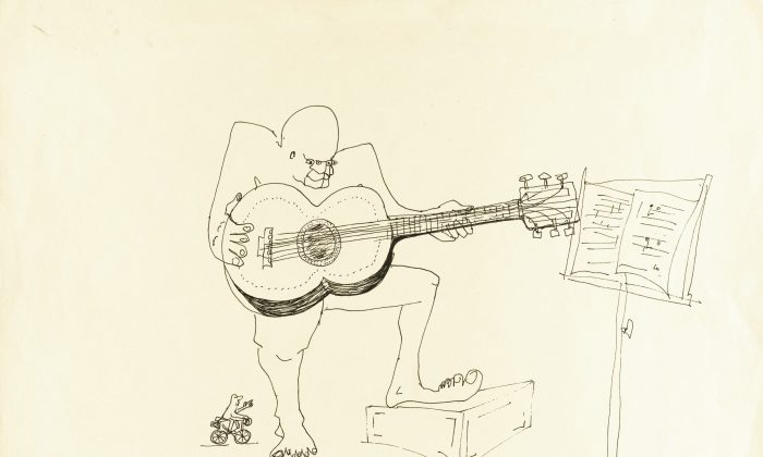 This undated photo provided by Sotheby's shows an untitled ink drawing by John Lennon of a guitar player, auctioned by Sotheby's in New York on Wednesday, June 4, 2014. (AP Photo/Sotheby's, John Lennon)
