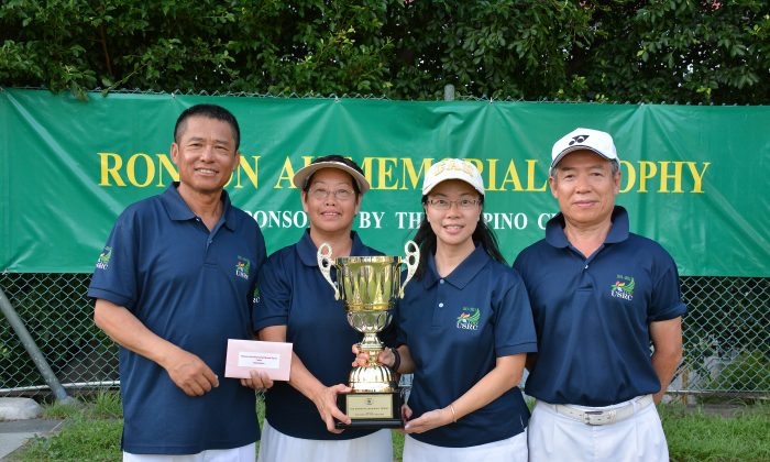 (From left) KC Ching, Angela Chau, Candy Ng and George Chan from United Services Recreation Club defeated the defending champion from Hong Kong Football Club to win the Ronson Au Mixed Fours competition last week, June 2. (Stephanie Worth)