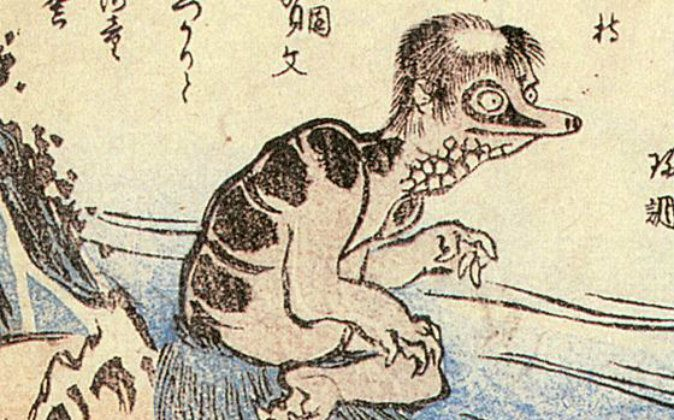 An illustration of a creature known as the kappa that is said in Japanese folklore to have inhabited rivers. (Wikimedia Commons)