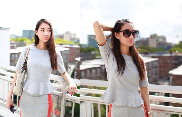 Model is wearing: Club Monaco Bailey Ponte Peplum Top; Club Monaco Sandy Knit Skirt. (Yifan He/Mochi Magazine)