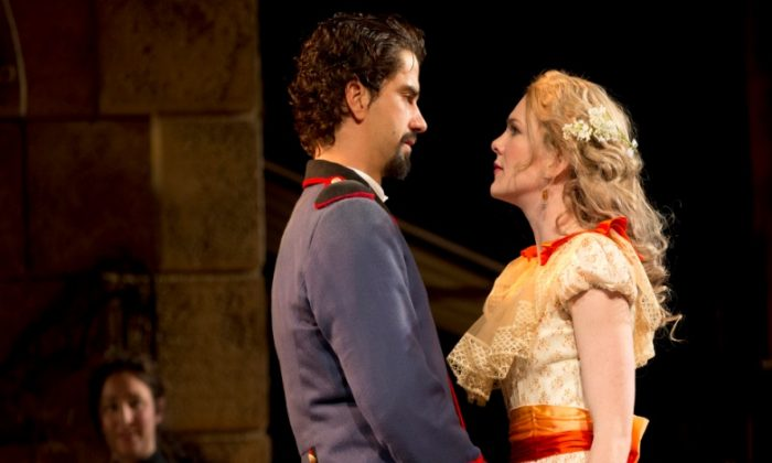 Benedick (Hamish Linklater) and Beatrice (Lily Rabe) finally overcome their cleverness and fall in love. (Joan Marcus)