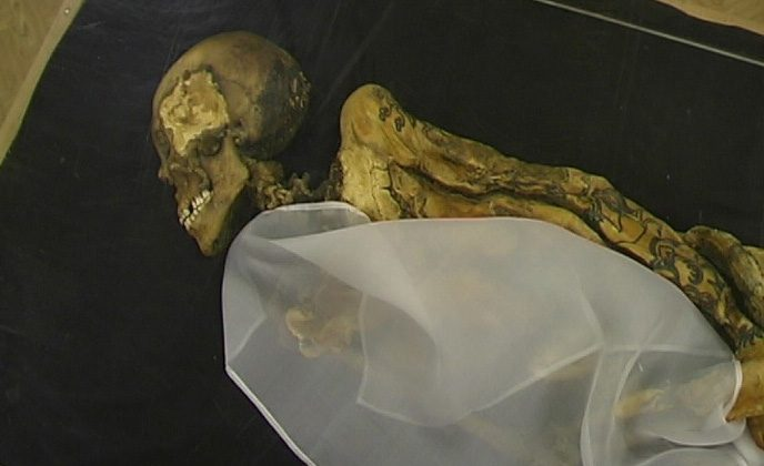 Mummy of the Ukok Princess/Siberian Ice Maiden. Tattoos line her arms. (Wikimedia Commons)