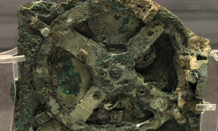 The Antikythera Mechanism is a 2000-year-old mechanical device used to calculate the positions of the sun, moon, planets, and even the dates of the ancient Olympic Games. (Wikimedia Commons)