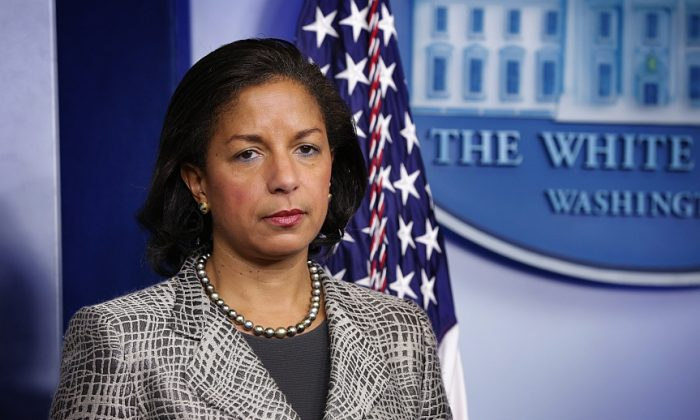 National Security Adviser Susan Rice listens during the White House Daily Briefing at the James Brady Press Briefing Room in Washington, on March 21. (Alex Wong/Getty Images)