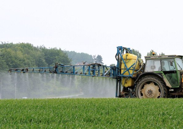 :A farmer drives a tractor to spray pesticides on his field, on June 11, 2013 in Godewaersvelde, northern France. (Philippe Hugen/AFP/Getty Images)