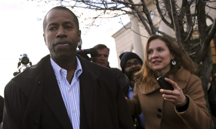State Sen. Malcolm Smith leaves federal court in White Plains, N.Y., on April 2, 2013. (AP Photo/Mary Altaffer)