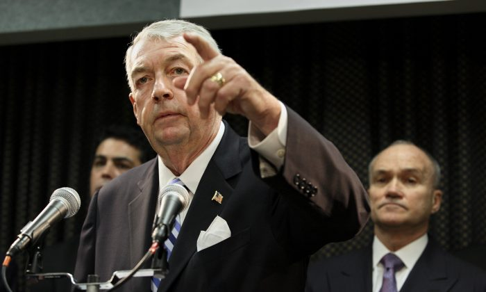Brooklyn District Attorney Charles Hynes during a press conference in Brooklyn, Oct. 18, 2006. Federal and state authorities are investigating allegations Hynes funneled more than $200,000 in public money to his failed re-election bid. (AP Photo/Adam Rountree)