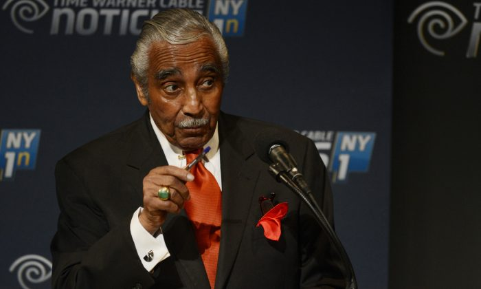 Incumbent Congressman Charles Rangel participates in the NY1 Democratic Primary debate at Lehman College in New York, Wednesday, June 11, 2014. Rangel is seeking his party's nomination to run for re-election in New York's 13th Congressional District. (AP Photo/New York Daily News, Peter Gabel)