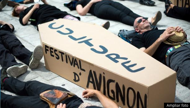 A protest in Marsalla concerning the possible cancellation of the Festival of Avignon, and of culture in general, on July 18 2014. (Bertrand Langlois/AFP/Getty Images)