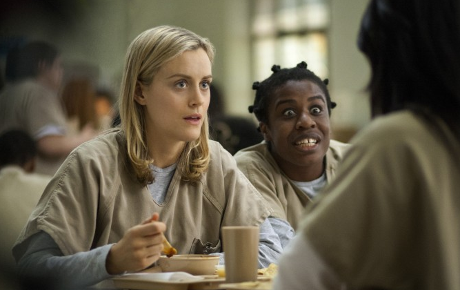 "Taylor Schilling, left, and Uzo Aduba in a scene from ""Orange Is the New Black."" Season 2 debuted on Netflix on June 6, 2014; And a season 3 is in the works. (AP Photo/Netflix, Paul Schiraldi, file)"
