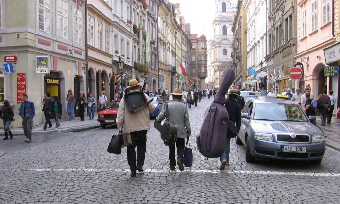 Street musicians on a street in Prague, Czech Republic. Music is heard at almost every corner in the old Bohemian city. (Edward Melnychuk)