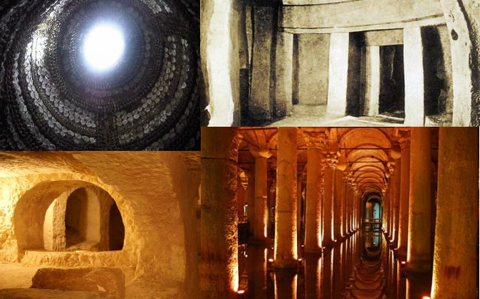 Top left: The mysterious Shell Grotto of Margate, under Kent, England. Bottom left: Catacomb under St. Paul's Grotto in Malta. Top right: The Hypogeum of Hal Saflieni in Malta. Bottom right: Basilica Cistern under Istanbul, Turkey. (All via Wikimedia Commons)