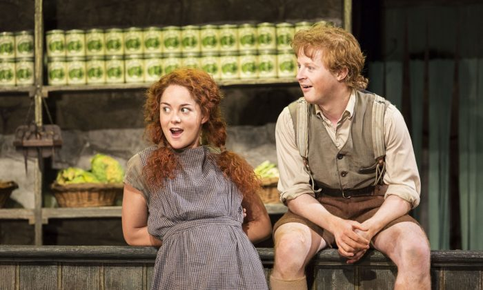 "Sarah Greene (L) and Conor MacNeill performing in ""The Cripple of Inishmaan,"" at the Cort Theatre in New York. Greene's performance as bully Helen McCormick has snagged a Tony Award nomination in her Broadway debut. (AP Photo/Boneau/Bryan-Brown, Johan Persson)"