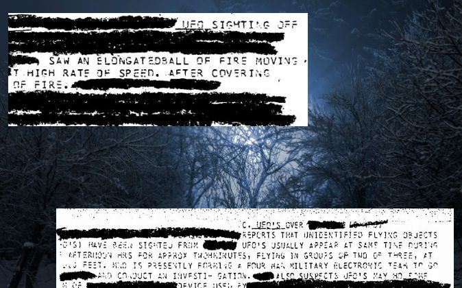 Excerpts from a  declassified National Security Agency document on UFOs. (Screenshot/NSA.gov; Background concept image of a UFO via Thinkstock)