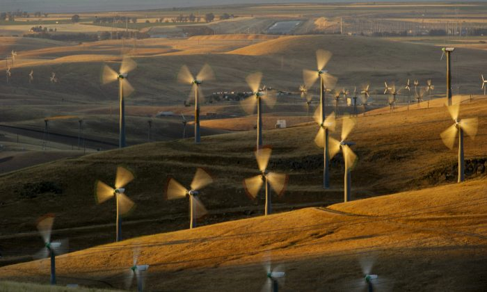 Wind turbines line the Altamont Pass near Livermore, Calif., on May 12, 2013. (AP Photo/Noah Berger)