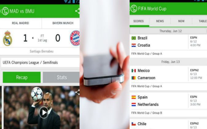 Screenshots of the ESPN FC Soccer & World Cup app. Image of a hand holding a smartphone via Thinkstock.