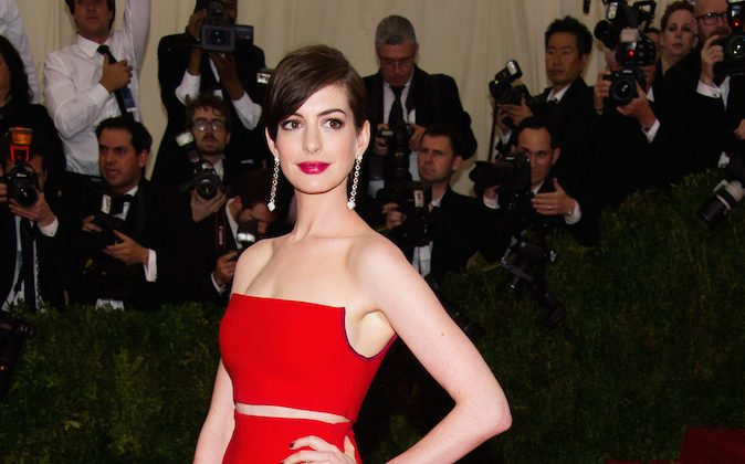"Anne Hathaway attends The Metropolitan Museum of Art's Costume Institute benefit gala celebrating ""Charles James: Beyond Fashion"" on Monday, May 5, 2014, in New York. (Charles Sykes/Invision/AP)"