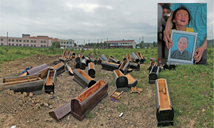 Several dozen confiscated coffins are dumped outside the Xindian Village of Tongcheng, Anqing City, May 24, 2014. In the small insert at top right, seven-year-old Hu Menghan weeps while holding a portrait of her late grandmother, 83-year-old Zheng Shifang. Zheng hanged herself on May 23 to avoid being cremated under the new law taking effect June 1. Luting Village, Luting Township in Tongcheng, Anqing City, Anhui Province, May 24, 2014. (Epoch Times)