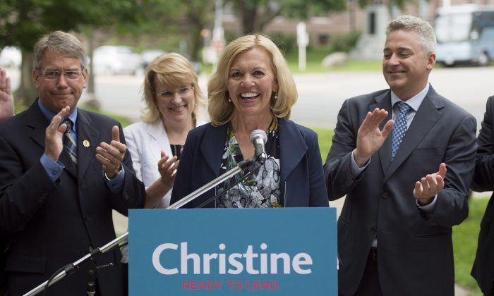 Christine Elliott, widow of former federal Finance Minister Jim Flaherty, announces her intention to run for the Ontario PC leadership during a press conference in Toronto on June 25, 2014. (The Canadian Press/Darren Calabrese)