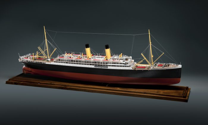 A model of the Empress of Ireland, with wire stretching between masts so that radio operators could communicate with other vessels and wireless stations. (Frank Wimart, courtesy of CMH)