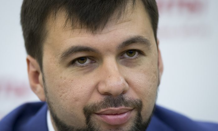 Denis Pushilin, leader of the insurgent Donetsk People's Republic attends a news conference  in Moscow, Russia, Thursday, June 19, 2014. Leader of the self-proclaimed Donetsk People's Republic Denis Pushilin admits the pro-Russian fighters are significantly weaker than the Ukrainian army. Pro-Russia separatists shot down a Ukrainian military transport plane Saturday, killing all 49 crew and troops aboard in a bloody escalation of the conflict in the country's restive east. (AP Photo/Alexander Zemlianichenko)
