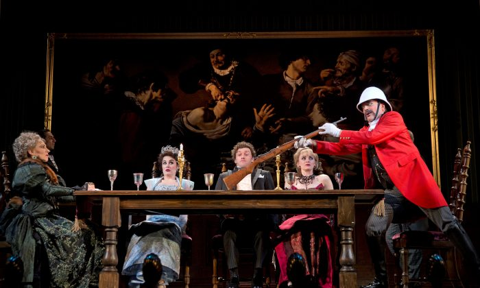 "(L–R) Joanna Glushak as Lady Eugenia, Lauren Worsham as Phoebe D'Ysquith, Bryce Pinkham as Monty Navarro, Lisa O'Hare as Sibella Hallward, and Jefferson Mays as Lord Adalbert D'Ysquith. All the D'Ysquith clan are mysteriously dying in the Drama Desk Award winner for Outstanding Musical, ""A Gentleman's Guide to Love & Murder."" (Joan Marcus)"