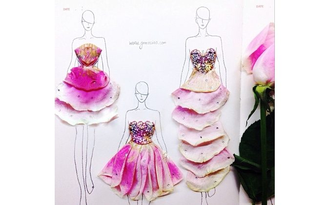 Flower petals dress as a new way of fashion illustration. (Courtesy of Grace Ciao)
