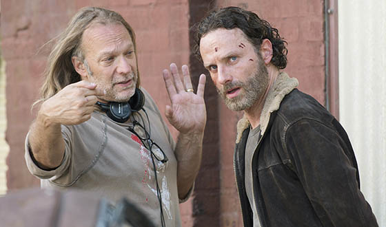 The Walking Dead Executive Producer and Special FX Makeup Designer Greg Nicotero with Andrew Lincoln (Rick Grimes) on the set. (AMC)