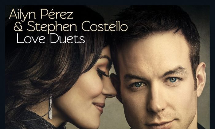 """Beautiful soprano Ailyn Pérez and handsome tenor Stephen Costello on the cover of their new CD """"Love Duets.""""(Courtesy of Warner Classics)"""