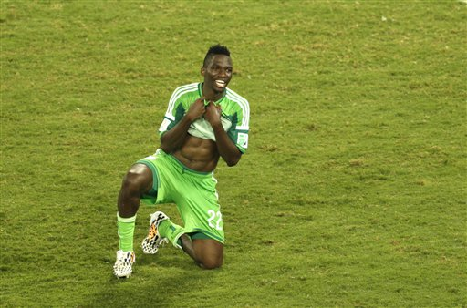Nigeria's Kenneth Omeruo smiles after winning the group F World Cup soccer match between Nigeria and Bosnia at the Arena Pantanal in Cuiaba, Brazil, Saturday, June 21, 2014. Nigeria eliminated Bosnia-Herzegovina from World Cup contention with a 1-0 win over the tournament newcomers. (AP Photo/Fernando Llano)