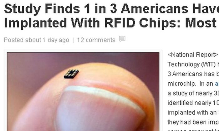 "An article saying a study found that a third of Americans ""have been implanted with an RFID"" microchip is fake. (National Report screenshot)"