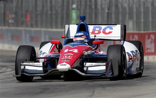 Takuma Sato, of Japan, qualifies for the second race of the IndyCar Detroit Grand Prix auto racing doubleheader in Detroit, Sunday, June 1, 2014. Sato won the pole for the second race. (AP Photo/Dave Frechette)