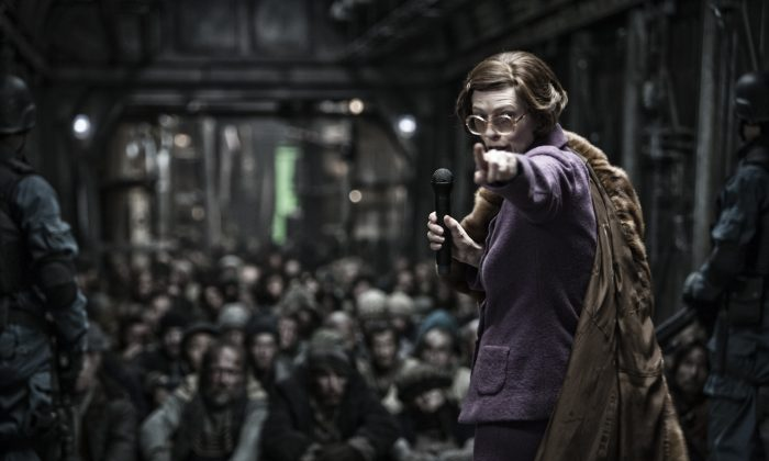 "Tilda Swinton in ""Snowpiercer,"" a post-apocalyptic film screening at BAMcinemaFest. (Courtesy Radius-TWC)"