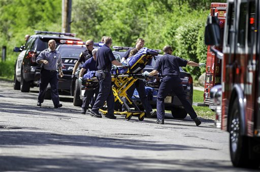 The Slender Man game and story was cited as the reason for a stabbing in Wisconsin. Two preteen girls have been charged. In this Saturday, May 31, 2014 photo, rescue workers take a stabbing victim to the ambulance in Waukesha, Wis. Prosecutors say two 12-year-old southeastern Wisconsin girls stabbed their 12-year-old friend nearly to death in the woods to please a mythological creature they learned about online. Both girls were charged as adults with first-degree attempted homicide Monday in Waukesha County Circuit Court. According to a criminal complaint, the girls had been planning to kill their friend for months and finally made the attempt in a park on Saturday morning, after a slumber party. (AP Photo/Abe Van Dyke)