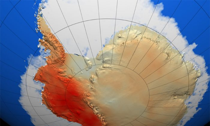 The West Antarctic Ice Sheet, pictured here is collapsing. Early predictions are for a 3 metre rise in sea-level.