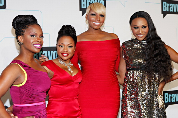TV personalities Kandi Burruss, Phaedra Parks, Nene Leakes and Cynthia Bailey attend the Bravo Upfront 2012 at Center 548 on April 4, 2012 in New York City. (Photo by Cindy Ord/Getty Images)