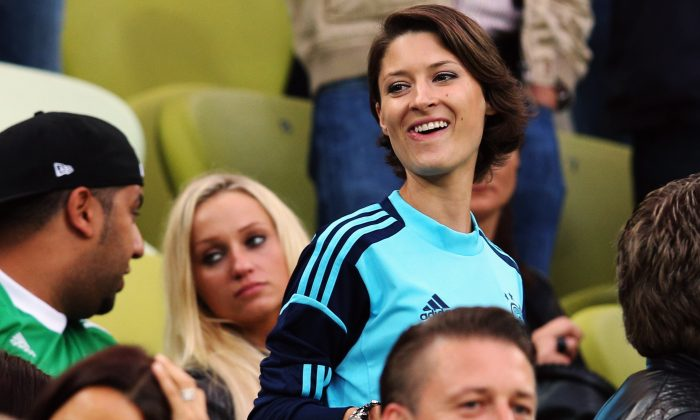 Kathrin Gilch, girlfriend of Manuel Neuer of Germany, looks on during the UEFA EURO 2012 quarter final match between Germany and Greece at The Municipal Stadium on June 22, 2012 in Gdansk, Poland. (Joern Pollex/Getty Images)