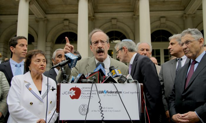 U.S. Congressman Eliot Engel speaking in front of City Hall in support of Israel on July 14, 2014. (Allen Xie)