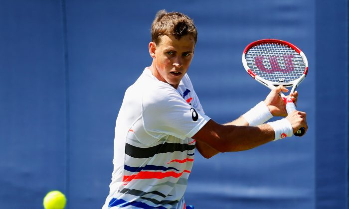 Vasek Pospisil prepares for a backhand at the Aegon Championships at Queens Club in London, England on June 10. (Harry Engels/Getty Images)