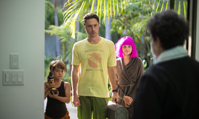 "Pierce Gagnon, Zach Braff, and Joey King in ""Wish I Was Here."" (Focus Features)"
